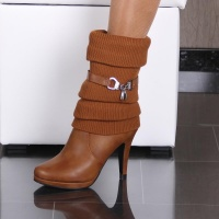 WARM LINED KNIT CUFF ANKLE BOOTS HIGH HEELS CAMEL