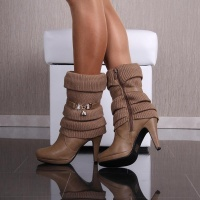 WARM LINED KNIT CUFF ANKLE BOOTS HIGH HEELS KHAKI