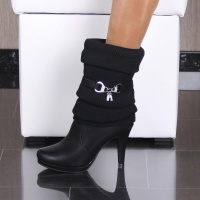 WARM LINED KNIT CUFF ANKLE BOOTS HIGH HEELS BLACK