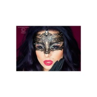 MYSTERIOUS METAL BALLMASK WITH RHINESTONES CARNIVAL BLACK