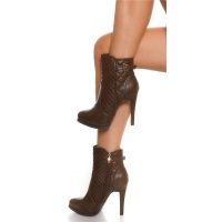 STITCHED ANKLE BOOTS HIGH HEELS MADE OF ARTIFICIAL LEATHER BROWN UK 5