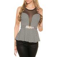 ELEGANT STRIPED PEPLUM TOP WITH GOLDEN BUCKLE BLACK/WHITE