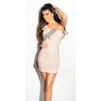 GLAMOUR BANDEAU MINIDRESS WITH STONES AND BOW BEIGE Onesize (UK 8,10,12)