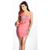 GLAMOUR BANDEAU MINIDRESS WITH STONES AND BOW CORAL Onesize (UK 8,10,12)