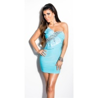 GLAMOUR BANDEAU MINIDRESS WITH STONES AND BOW TURQUOISE