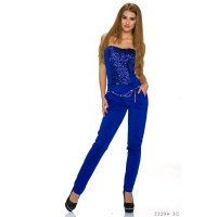 GLAMOUR PARTY OVERALL JUMPSUIT WITH SEQUINS INCL. BELT ROYAL BLUE