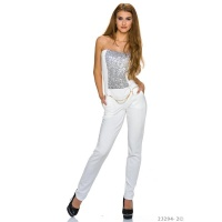 GLAMOUR PARTY OVERALL JUMPSUIT WITH SEQUINS INCL. BELT WHITE