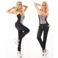 GLAMOUR PARTY OVERALL JUMPSUIT WITH SEQUINS INCL. BELT...