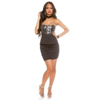 STRAPLESS GLAMOUR EVENING DRESS WITH SEQUINS AND PEPLUM BLACK/SILVER