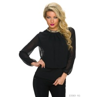GLAMOUR CHIFFON BLOUSE TRANSPARENT WITH RHINESTONES BLACK