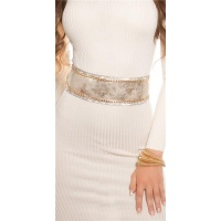 GLAMOUR IMITATION LEATHER WAIST BELT TO TIE WITH RHINESTONES GOLD