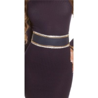 GLAMOUR IMITATION LEATHER WAIST BELT TO TIE WITH RHINESTONES NAVY