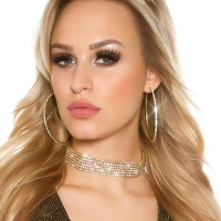 NOBLE PARTY GLAMOUR NECKBAND CHOKER WITH RHINESTONES GOLD