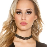 NOBLE PARTY GLAMOUR NECKBAND CHOKER WITH RHINESTONES BLACK