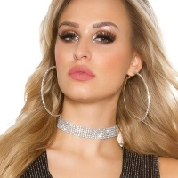 NOBLE PARTY GLAMOUR NECKBAND CHOKER WITH RHINESTONES SILVER