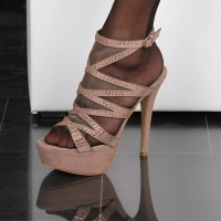 GLAMOUR PLATFORM SANDALS STILETTO HIGH HEELS VELVET KHAKI UK 5