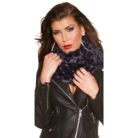 SOFT AND CUDDLY GLAMOUR LOOP SCARF WITH SEQUINS NAVY