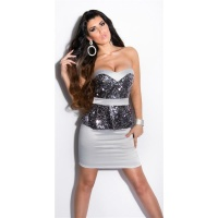 GLAMOUR SATIN EVENING DRESS WITH SEQUINS AND PEPLUM GREY