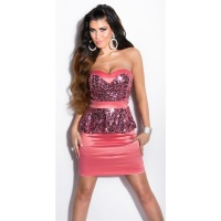 GLAMOUR SATIN EVENING DRESS WITH SEQUINS AND PEPLUM SALMON