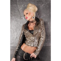 GLAMOROUS JACKET IN LEATHER-LOOK WITH SEQUINS BLACK/GOLD