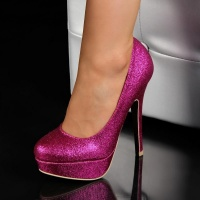 SEXY PUMPS HIGH HEELS PLATFORM SHOES WITH GLITTER FUCHSIA