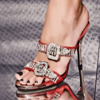GLAMOUR SANDALS WITH RHINESTONES SATIN RED