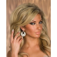 GLAMOROUS EARRINGS WITH RHINESTONES FASHION JEWELLERY GOLD