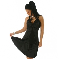 GLAMOUR SATIN EVENING DRESS BLACK UK 8