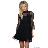 EXTRAVAGANT GOTHIC MESH MINIDRESS WITH STAND-UP COLLAR BLACK