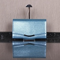 LARGE CLUTCH BAG WITH GLITTER AND CHAIN STRAP LIGHT BLUE