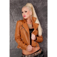 HIGH CLASS BIKER JACKET MADE OF ARTIFICIAL LEATHER WITH ZIPPER CAMEL UK 10 (S)