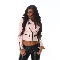 PREMIUM QUALITY BIKER JACKET IMITATION LEATHER REPTILE-LOOK PINK