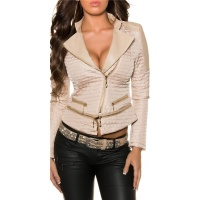 LIGHT QUILTED PREMIUM JACKET IN BIKER-STYLE WITH ZIPPER BEIGE UK 10 (M)