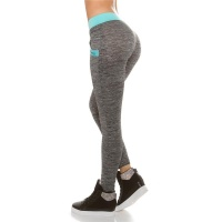 TRACKIES WITH POCKETS SWEATPANTS YOGA LEGGINGS GREY/AQUA Onesize (UK 8,10,12)