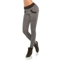 TRACKIES WITH POCKETS SWEATPANTS YOGA LEGGINGS GREY/BLACK
