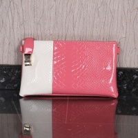 ELEGANT SMALL CLUTCH BAG IN CROC LOOK APRICOT/WHITE