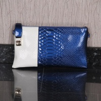 ELEGANT SMALL CLUTCH BAG IN CROC LOOK BLUE/WHITE