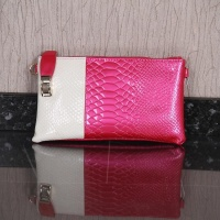 ELEGANT SMALL CLUTCH BAG IN CROC LOOK FUCHSIA/WHITE
