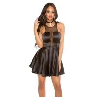 SEXY SHORT SATIN EVENING DRESS WITH TRANSPARENT...