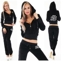 CUDDLY NIKKI JOGGING SUIT LEISURE SUIT WITH HOOD BLACK