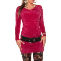 CUDDLY SOFT LONG SWEATER MADE OF FANCY YARN WINE-RED