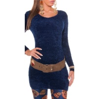 CUDDLY SOFT LONG SWEATER MADE OF FANCY YARN NAVY