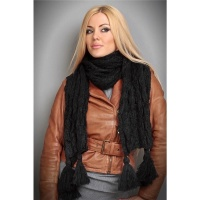 CUDDLY SCARF WITH TASSELS BLACK