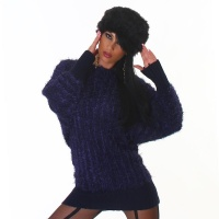 CUDDLY KNITTED LONG SWEATER FANCY YARN DARK BLUE