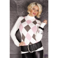 CUDDLY KNITTED SWEATER WITH DIAMOND PATTERN WHITE