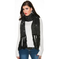 CUDDLY XXL SCARF WITH GLITTER AND FRINGES BLACK