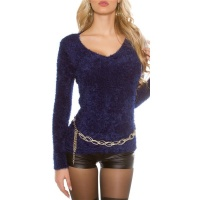 CUDDLY SOFT LADIES SWEATER JUMPER MADE OF FANCY YARN NAVY