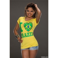 CASUAL SHORT-SLEEVED SHIRT WITH PRINT I LOVE BRAZIL YELLOW/GREEN Onesize (UK 8,10,12)