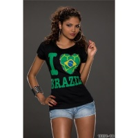 CASUAL SHORT-SLEEVED SHIRT WITH PRINT I LOVE BRAZIL BLACK/GREEN Onesize (UK 8,10,12)