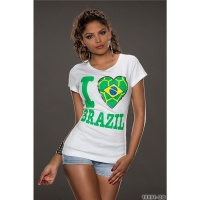 CASUAL SHORT-SLEEVED SHIRT WITH PRINT I LOVE BRAZIL WHITE/GREEN